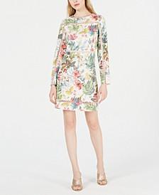 Long-Sleeve Trimmed Sheath Dress