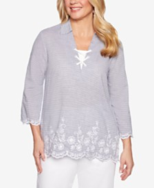 Alfred Dunner Smooth Sailing Embroidered Top