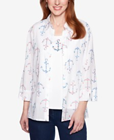 Alfred Dunner Smooth Sailing Anchor-Print Layered-Look Top