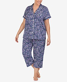 Lauren Ralph Lauren Plus-Size Printed Jersey Knit Notch Collar Top and Capri Pajama Pants Set