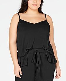 I.N.C. Ultra Soft Plus Knit Ruffle Flounce Pajama Top, Created for Macy's
