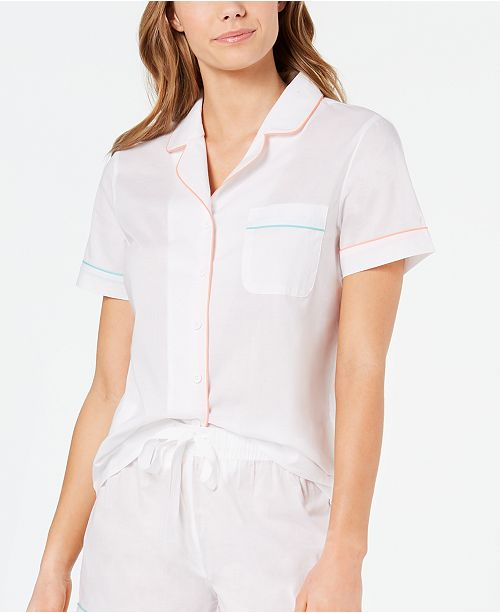 Charter Club Notch Collar Woven Cotton Pajama Top, Created for Macy's 8151634