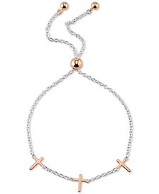 Cross Charm Adjustable Bolo Bracelet in Sterling Silver & Rose Gold-Flash Plated Sterling Silver