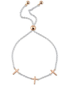 Unwritten Cross Charm Adjustable Bolo Bracelet in Sterling Silver & Rose Gold-Flash Plated Sterling Silver