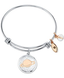 Saturn Crystal Multi-Charm Bangle Bracelet in Stainless Steel & Rose Gold-Tone Stainless Steel