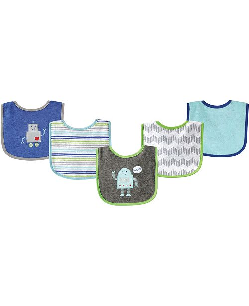 Baby Vision Luvable Friends Drooler Bibs with Waterproof Back, 5-Pack, One Size