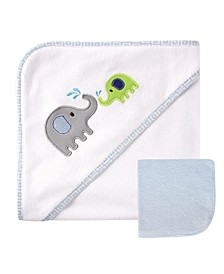 Hooded Towel with Washcloths, Blue Elephants, One Size