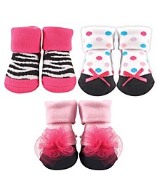 Socks Gift Set, 3-Pack, Zebra and Flower, 0-9 Months