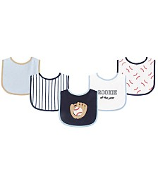 Luvable Friends Drooler Bibs with Waterproof Back, 5-Pack, One Size