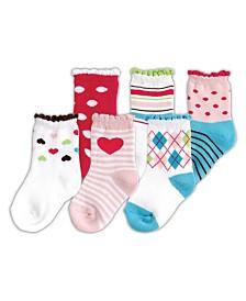 Luvable Friends Socks, 6-Pack, Pink, 0-12 months