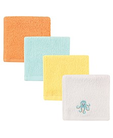 Luvable Friends Washcloths, 4-Pack, Yellow Octopus, One Size