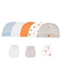 Cap and Scratch Mittens, 8-Piece Set, 0-6 Months