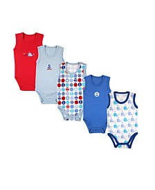 Luvable Friends Sleeveless Bodysuits, 5-Pack, 0-24 Months