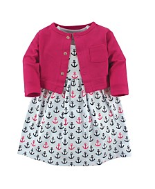Luvable Friends Cardigan and Dress Set,0-24 Months