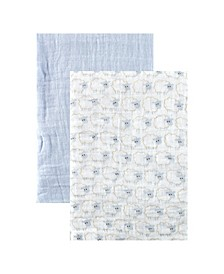 Muslin Swaddle Blanket, 2-Pack, Blue, One Size