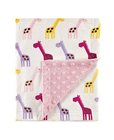 Minky Blanket with Dotted Mink Backing, Pink Giraffe, One Size