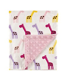 Hudson Baby Minky Blanket with Dotted Mink Backing, Pink Giraffe, One Size