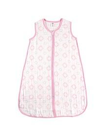 Muslin Wearable Safe Sleeping Bag Blanket, Pink Damask, 0-24 Months