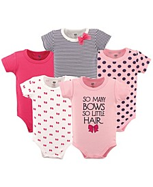 Baby Girl Cotton Bodysuit, 5-Pack