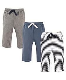 Pants, 3-Pack, Blue Stripes, 0-24 Months