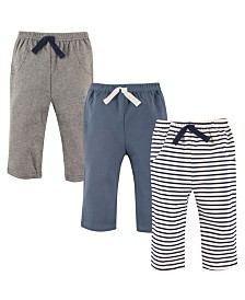 Hudson Baby Pants, 3-Pack, Blue Stripes, 0-24 Months