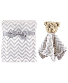 Plush Blanket and Animal Security Blanket, 2-Piece Set, Gray Bear, One Size