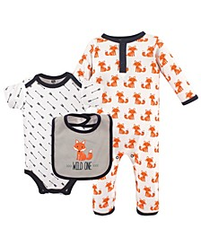 Union Suit/Coverall, Bodysuits and Bibs, 3-Piece Set, 0-12 Months