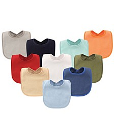 Hudson Baby Drooler Bibs with Waterproof Lining, 10-Pack, Boy Solids, One Size