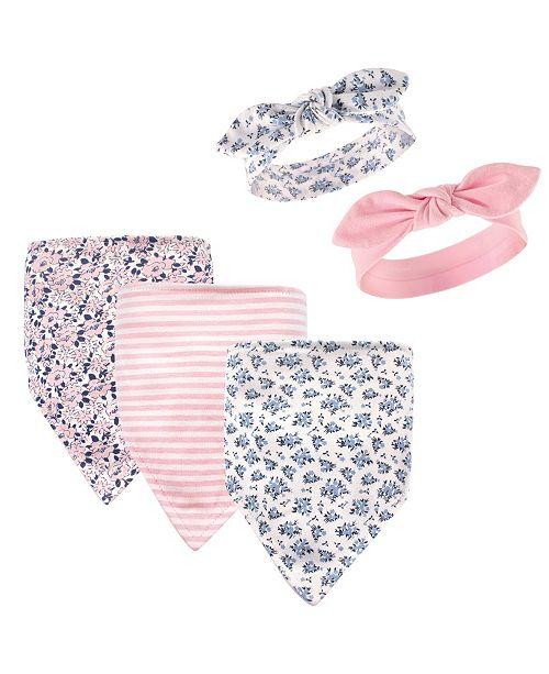 Hudson Baby Bandana Bibs and Headbands, 5-Piece Set, 0-9 Months