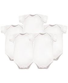 Bodysuits, 5-Pack, White, 0-24 Months