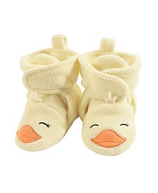 Hudson Baby Cozy Fleece Booties with Non Skid Bottom, 0-24 Months