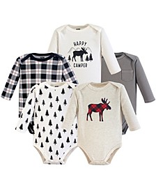 Long Sleeve Bodysuits, 5-Pack, 0-24 Months