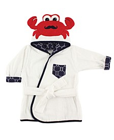 Animal Face Hooded Bath Robe, 0-9 Months