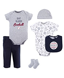 Bodysuits, Pants, Socks, Bibs and Cap, 6-Piece Set, 0-12 Months