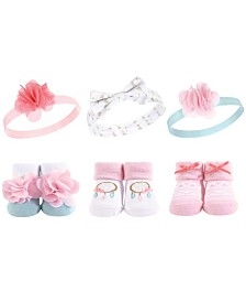 Hudson Baby Headbands and Socks Giftset, 6-Piece Set, 0-9 Months