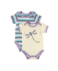 Touched By Nature Organic Cotton Bodysuits 2-Pack, Purple with Dragonfly, 0-12 Months
