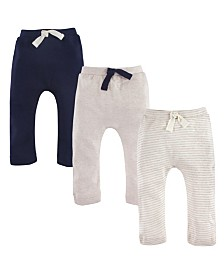 Touched by Nature Baby Organic Cotton Pants 3-Pack, Oatmeal/Navy, 0-24 Months