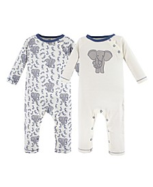 Baby Organic Cotton Union Suit 2-Pack, Elephant, 0-24 Months
