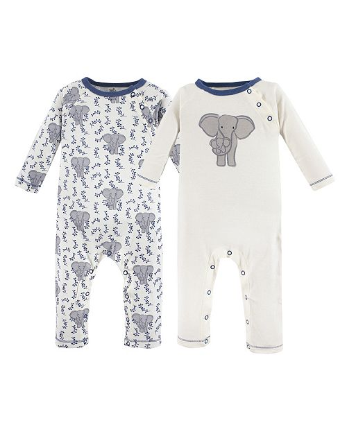 Touched by Nature Baby Organic Cotton Union Suit 2-Pack, Elephant, 0-24 Months