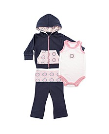 Hoodie, Bodysuits and Pants, 3-Piece Set, 0-24 Months
