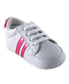 Luvable Friends Basic Stripe Sneakers, Pink, 6-18 Months