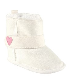Luvable Friends Baby Faux Suede Winter Boots, White, 6-18 Months