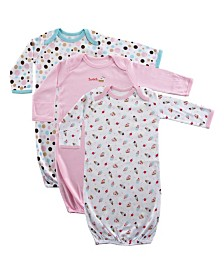 Luvable Friends Sleep Gowns, 3-Pack, Pink Cake, 0-6 Months