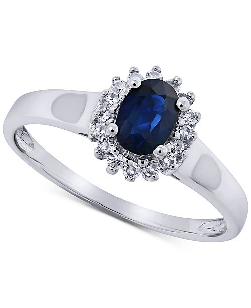 Macy's Sapphire (5/8 ct. t.w.) & Diamond (1/8 ct. t.w.) Statement Ring in 14k White Gold