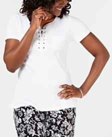 Karen Scott Cotton Lace-Up Neck Top, Created for Macy's
