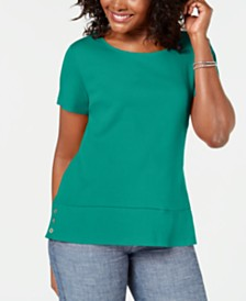 Karen Scott Button-Hem Scoop-Neck Top, Created for Macy's