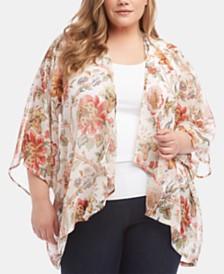 Karen Kane Plus Size Printed Draped Kimono