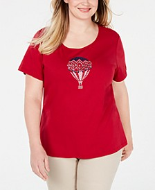 Plus Size Embellished Cotton Top, Created for Macy's