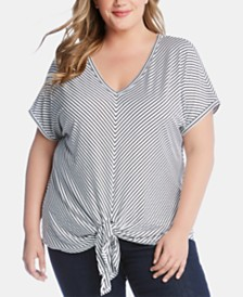 Karen Kane Plus Size Striped Tie-Hem Top