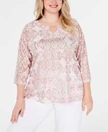 Alfred Dunner Plus Size Society Pages Printed Embellished Top